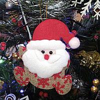 Новогоднее украшение подвеска Санта Клаус со снежинками