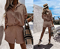 Женский стильный костюм с шортами и рубашкой, фото 1