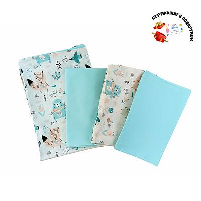 Комплект постельного белья детский СТ, хлопок, (бирюзовые мишки на белом/ментол)