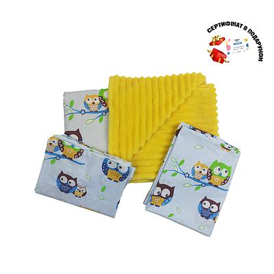 Комплект для прогулки (комплект в коляску) хлопок / плюш (совушки на голубом / желтый)
