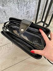 Трендовая сумка КМ на 3 отдела черная КМ11, фото 3