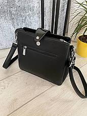 Трендовая сумка КМ на 3 отдела черная КМ11, фото 2
