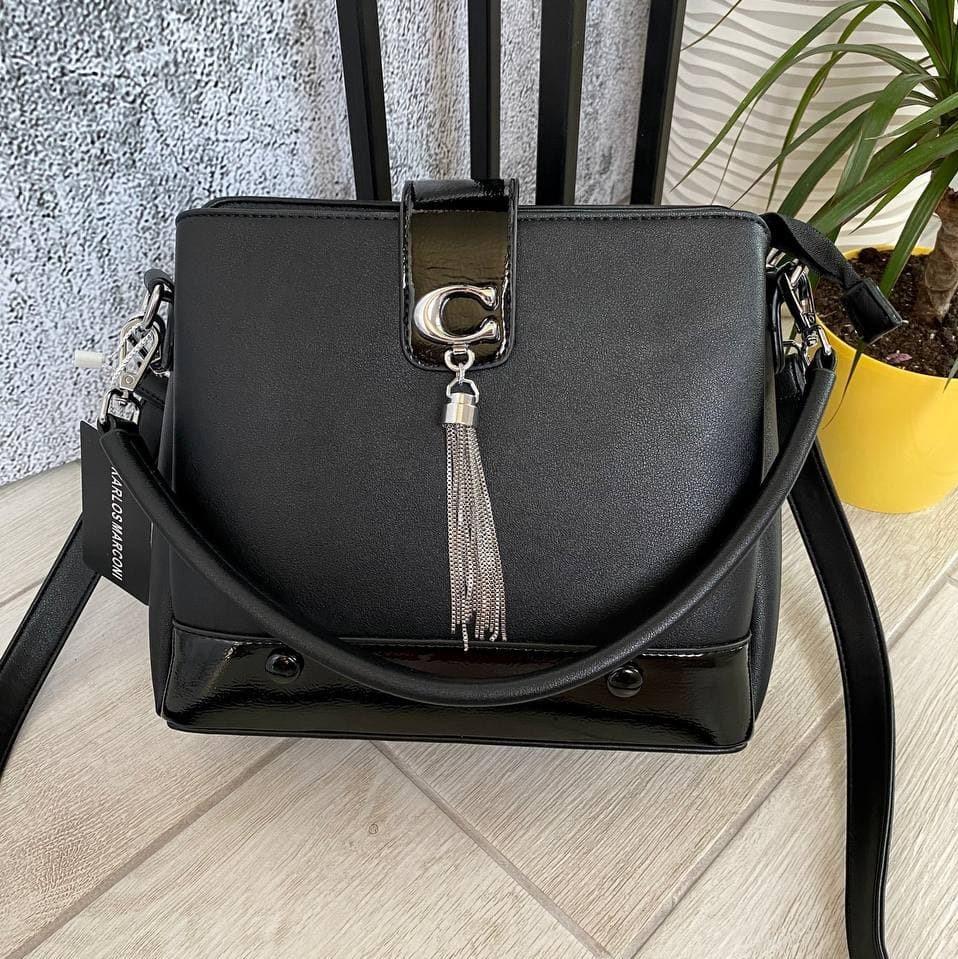 Трендовая сумка КМ на 3 отдела черная КМ11