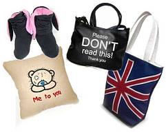 Сумки, рюкзаки, клатчи, домашние тапочки, подарочные подушки