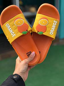Сланці/тапочки з фруктами/ Апельсин/ Orange/ Шльопанці з апельсином