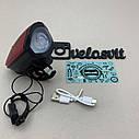Передня велосипедна фара в алюмінієвому корпусі + сигнал велосипедний ліхтар USB, фото 7