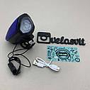 Передня велосипедна фара в алюмінієвому корпусі + сигнал велосипедний ліхтар USB, фото 8