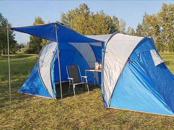Палатка, палатка четырех местная, двухкомнатная палатка, палатка с тамбуром, двухслойная палатка