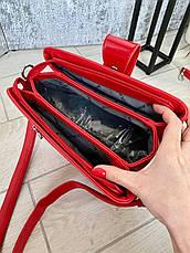 Трендовая сумка КМ на 3 отдела красная КМ22, фото 2