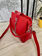Трендовая сумка КМ на 3 отдела красная КМ22, фото 3