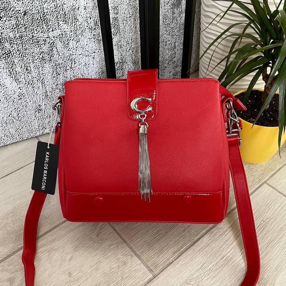Трендовая сумка КМ на 3 отдела красная КМ22