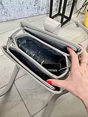 Трендова сумка КМ на 3 відділу сіра КМ33, фото 2