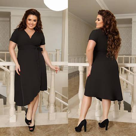 Платье асимметрическое, №312, черное, с 44 по 58 р., фото 2