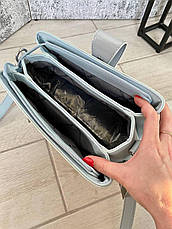 Трендовая сумка КМ на 3 отдела голубая КМ44, фото 2