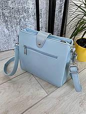 Трендова сумка КМ на 3 відділу блакитна КМ44, фото 3