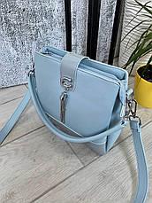 Трендовая сумка КМ на 3 отдела голубая КМ44, фото 3