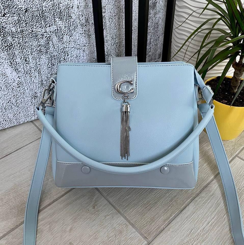 Трендовая сумка КМ на 3 отдела голубая КМ44