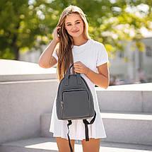 Красивый Женский кожаный Серый рюкзак. Сумка, фото 3