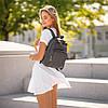 Красивый Женский кожаный Серый рюкзак. Сумка, фото 4