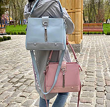 Трендовая сумка КМ на 3 отдела пудра КМ6, фото 3