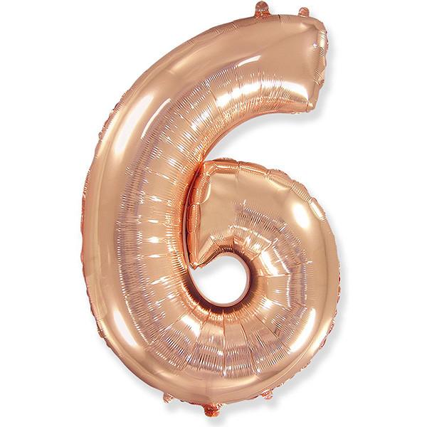 "Фольгована кулька цифра рожеве золото ""6"" 40"" Flexmetal"