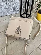 Трендовая сумка КМ на 3 отдела бежевая КМ7, фото 2