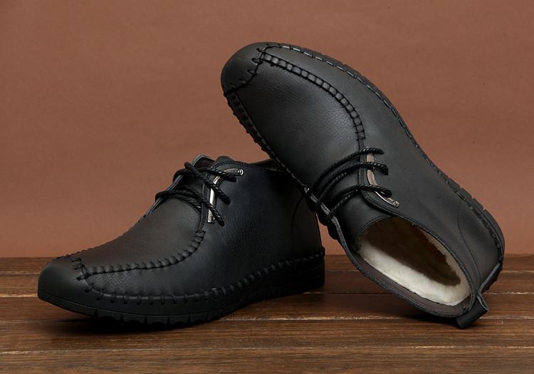 Мужские зимние ботинки-туфли из натуральной кожи. Модель 04109.