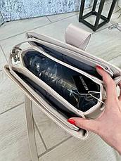 Трендовая сумка КМ на 3 отдела кофе с молоком КМ9, фото 2