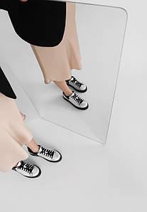 Срібні кеди з натуральної шкіри з чорними вставками