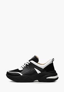 Жіночі чорні кросівки з білими і замшевими вставками