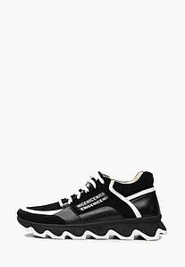 Стильные черные кроссовки из натуральной кожи со замшевыми вставками