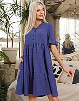 Летнее льняное платье-трапеция свободного кроя, фото 1