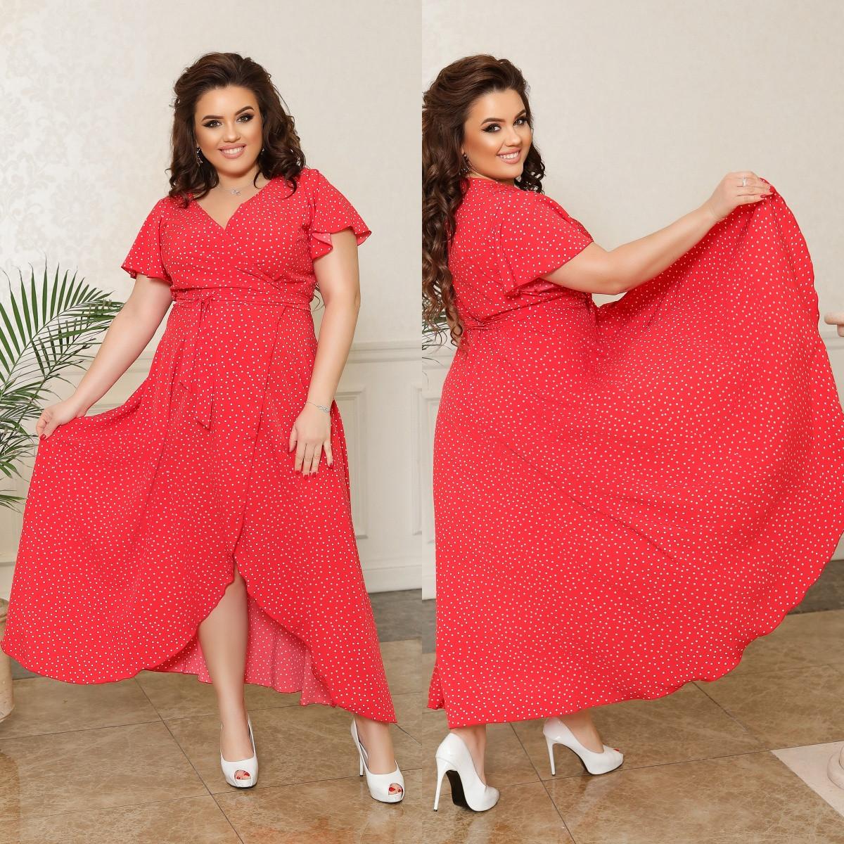 Плаття на запах зі шлейфом, №315, червоне в дрібний горошок, з 44 по 58р.