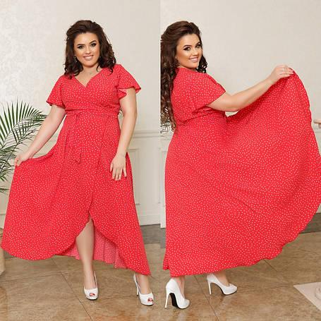 Плаття на запах зі шлейфом, №315, червоне в дрібний горошок, з 44 по 58р., фото 2