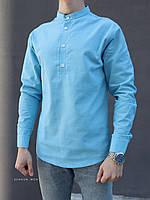 Мужская рубашка лен голубая