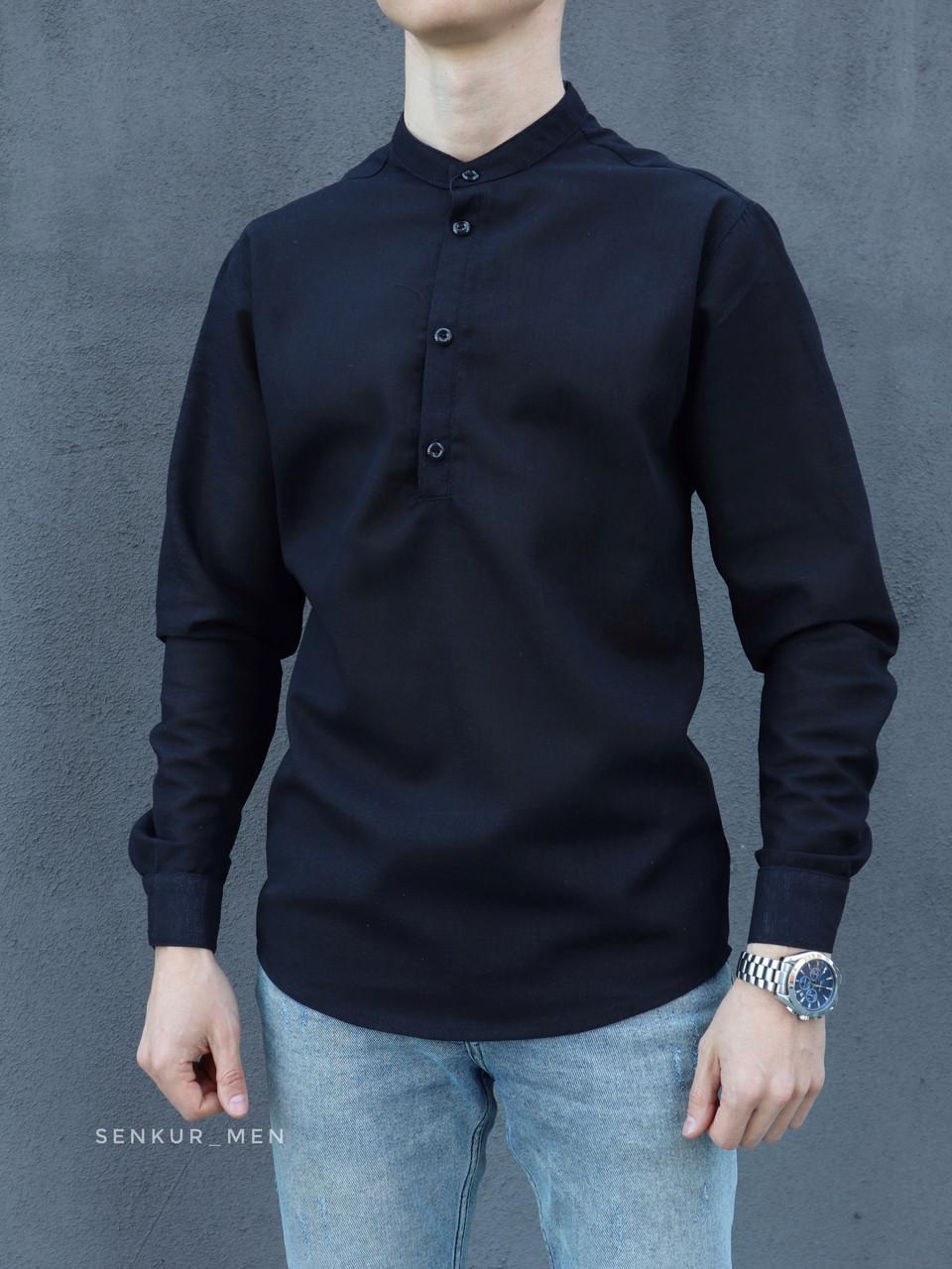 Чоловіча сорочка льон чорна