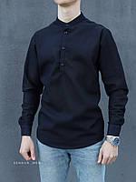 Мужская рубашка лен черная