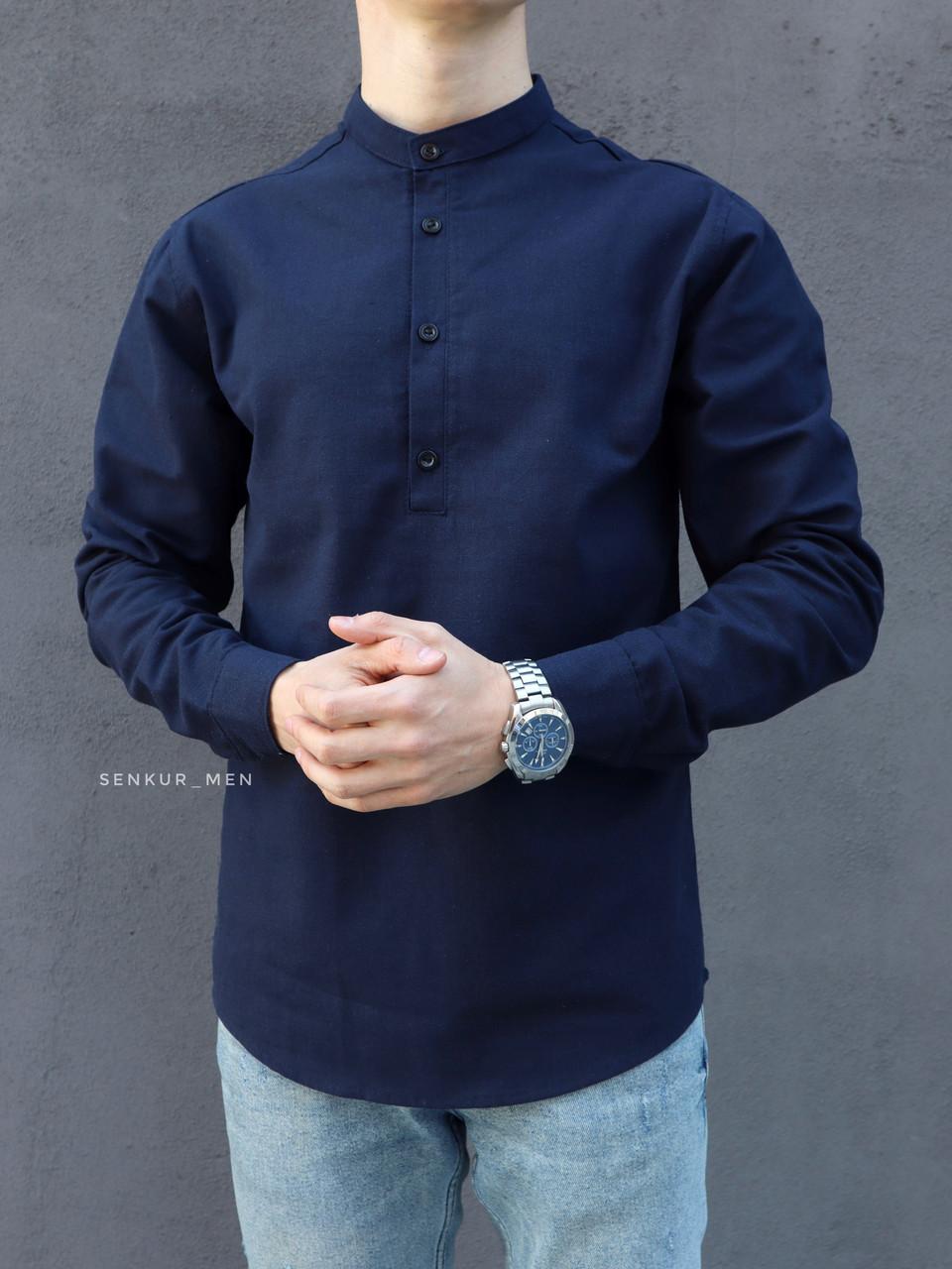 Мужская рубашка лен темно-синяя