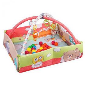 Коврик для малышей 63577 (6шт) манеж,с погремушками на 2х дугах,размер изделия 118*107*47см, [man157347-TSI]