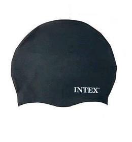 Шапочка для плавания Intex взрослым и детям (Черная) | Шапка для купания в бассейне для взрослых и детей