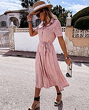 Летнее женское платье «Кнопки»  Цвет - чёрный, розовый, олива