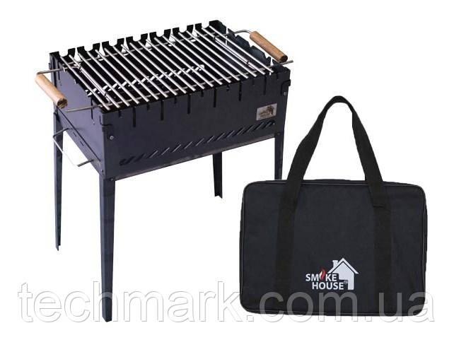 Раскладной мангал на 6 шампуров с сумкой и решеткой  из черной стали