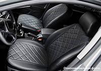 Чехлы салона Volkswagen Tiguan 2017- (со столиками) Эко-кожа, Ромб /черные