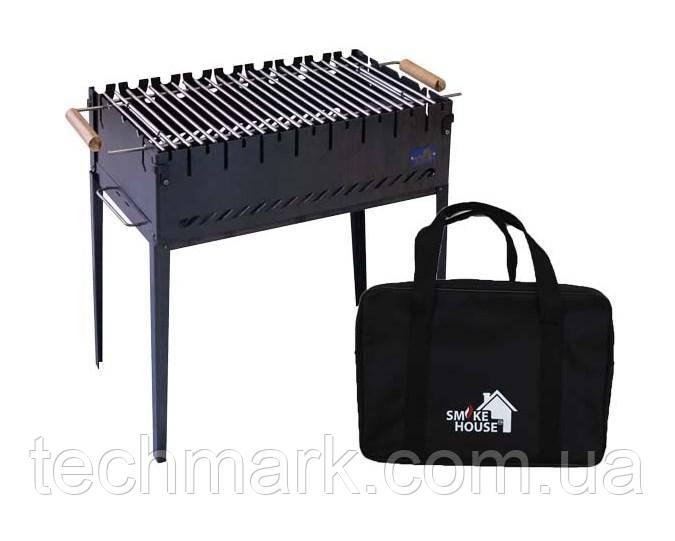 Розкладний мангал на 8 шампурів з сумкою і решіткою з чорної сталі