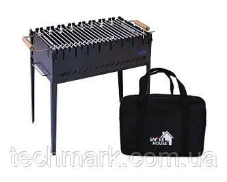 Раскладной мангал на 8 шампуров с сумкой и решеткой из черной стали