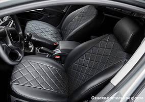 Чохли салону Volkswagen Polo Sedan 2019- (зад. сід. 60/40) Еко-шкіра, Ромб /чорні 90646