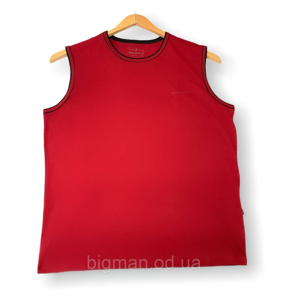 Чоловіча майка темно-червона однотонна батал (великі розміри 3XL 5XL 6XL) Borcan Club виробництво: Туреччина