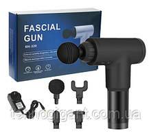 Портативний ударний масажер пістолет для тіла Fascial Gun М'язовий Black Чорний / Ударні масажер, 4 насадки