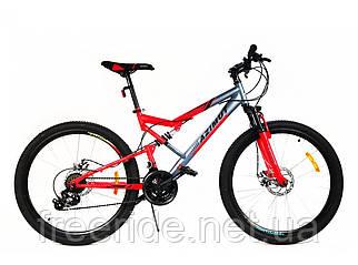 Подростковый двухподвесный велосипед Azimut Scorpion 24 G-FR/D (17) серо-красный