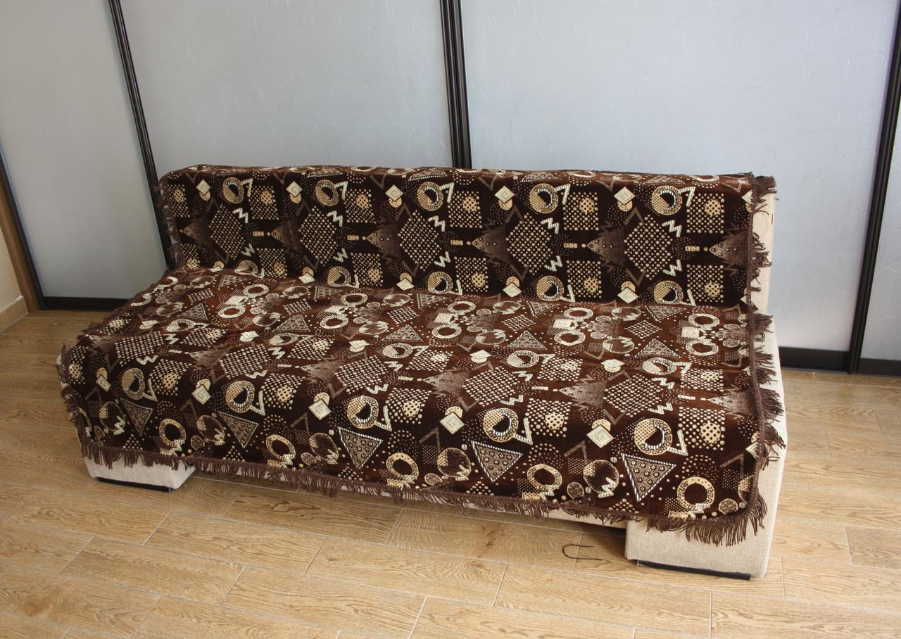 Комплект полуторных гобеленовых покрывал на кровать и кресла Фигуры коричневого цвета